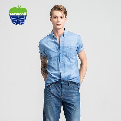 texwood/萍果男士渐变蓝色领嘴纽扣款短袖衬衫上衣96CA561A