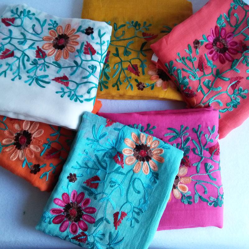 绣花围巾棉麻