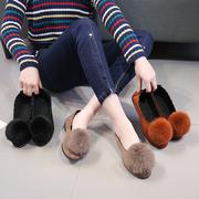 豆豆鞋毛球鞋街拍2018年秋季新款懒人女鞋休闲鞋舒适单鞋子