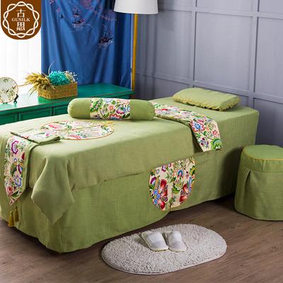 古思新款泰式简约会所酒店SPA按摩床AB面麻料美容四件套床罩