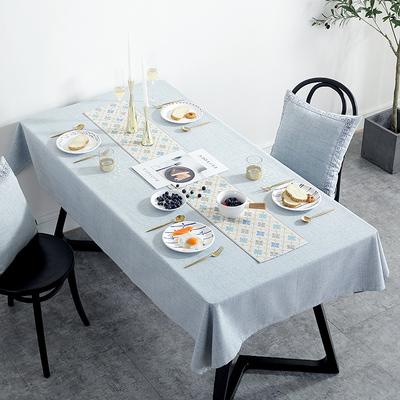 ins桌布布艺北欧式现代简约防水餐桌布棉麻台布家用刺绣茶几桌布