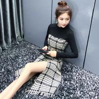 2017秋冬季新款女装高腰修身显瘦气质小香风打底千鸟格毛呢连衣裙