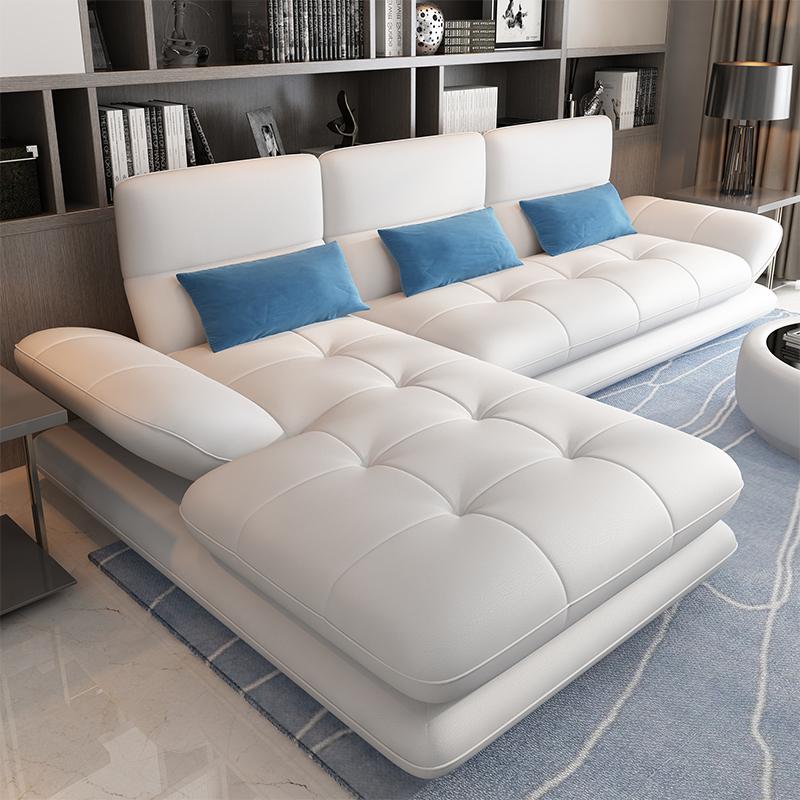 现代简约小户型客厅转角皮艺沙发