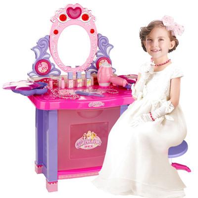 儿童过家家玩具套装仿女孩梳妆化妆台组合吹风机音乐灯光礼物