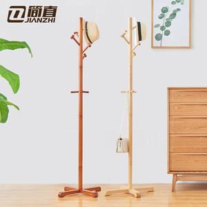 简直木质挂衣架落地卧室衣帽架简易实木衣服架子家用挂包架省空间