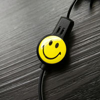 Mini walkie-talkie dedicated headphone cable 2.5 small plug single hole earphone in-ear black smiley crystal line