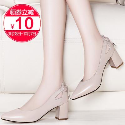 瓢鞋女鞋2018新款秋季鞋子中跟百搭粗跟时装鞋大码皮鞋单鞋高跟鞋