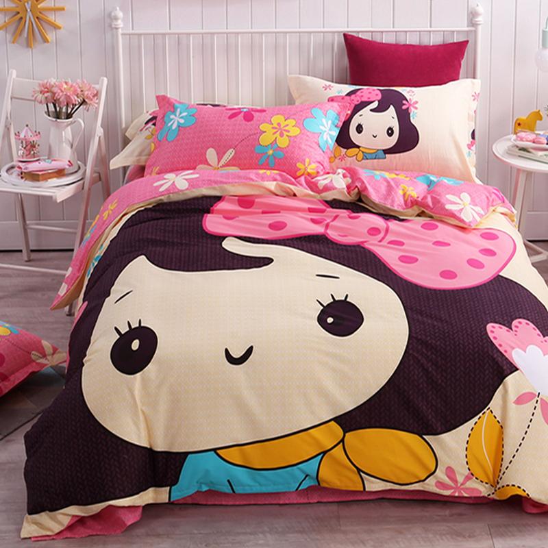 纯棉卡通床上用品四件套床笠1.5m全棉儿童床品床单人被套三4件套3