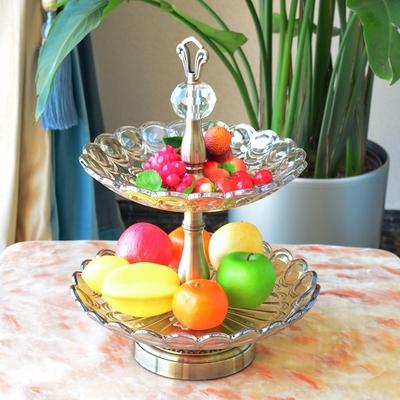 欧式玻璃双层果盘现代创意样板房装饰品家居软装摆件时尚果盆果斗