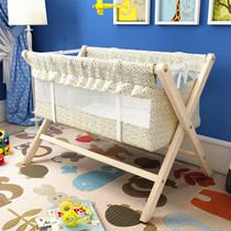 婴儿床实木宝宝摇篮床环保免漆小摇床可折叠便携式宝宝童床0~2岁