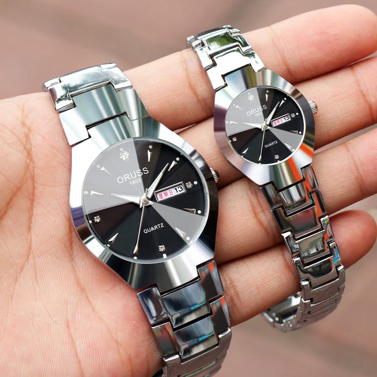 品质韩版男士女士腕表双日历夜光防水精钢带男表学生机械石英手表