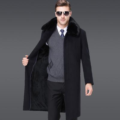 冬装加绒加厚中老年羊绒大衣男加肥加大长款过膝盖羊毛呢大衣外套