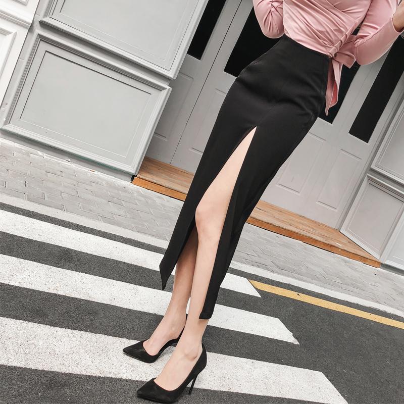爱熹尔黑色半身裙长裙韩版性感高开叉优雅中长裙一步裙子高腰包臀