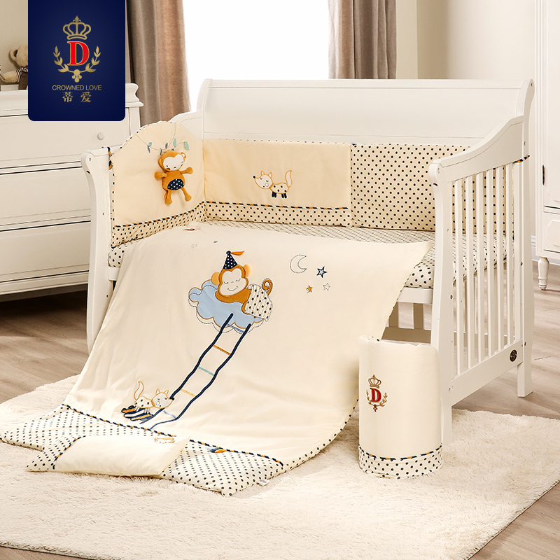 Design; Crib Cotton Five Piece Kit Crib Bed Cotton Removable And Washable Childrens Bedding Package Novel In