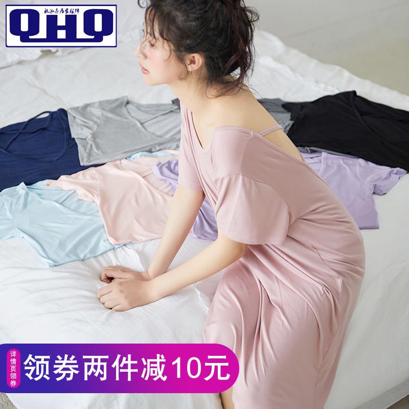 睡衣女夏性感莫代尔薄款连衣裙夏季中长款春秋大码女士短袖睡裙