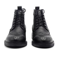 JINIWU吾倪季经典雕花手工布洛克款式靴牛皮百搭高帮系带纯黑男鞋