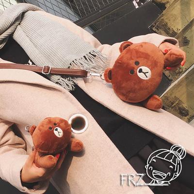 2018秋冬新款卡通女包可爱小包包布朗熊毛毛包儿童毛绒玩具斜挎包