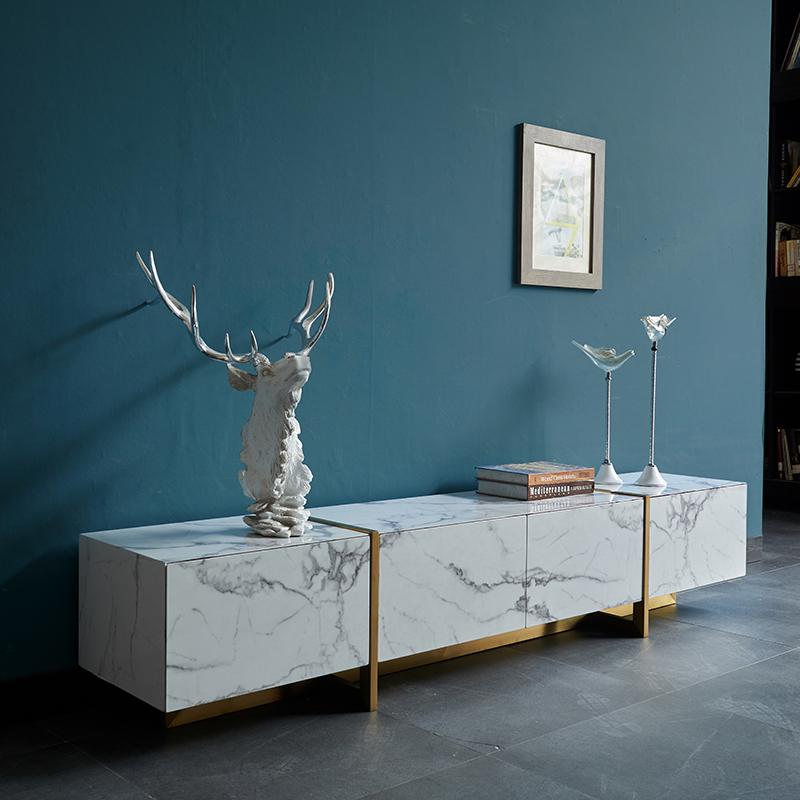 北欧大理石纹贴纸电视柜轻奢后现代简约小户型不锈钢客厅地柜家具