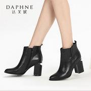 Daphne/达芙妮冬季尖头粗跟高跟侧拉链短靴舒适女靴1016605027