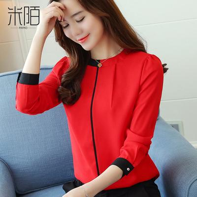 红色雪纺衬衫女士春装2018新款春秋时尚上衣短款长袖打底洋气小衫