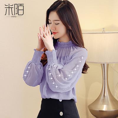 长袖雪纺衬衫女装秋装2018新款潮秋季洋气上衣服欧货蕾丝打底小衫