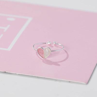 925纯银日韩甜美冰淇淋爱心戒指女时尚甜美滴釉爱心开口食指指环