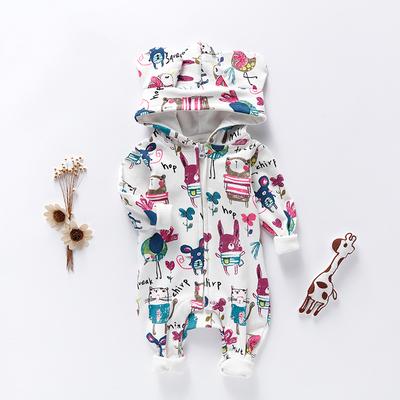 嬰兒連體衣春季外出棉服3寶寶哈衣爬服新生兒衣服6個月春秋裝1歲