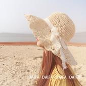 沙滩帽女夏天海边度假遮阳帽 俏皮淑女风蕾丝蝴蝶结波两边草帽图片