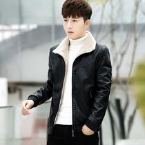 2017新款帅气皮毛一体男士外套韩版短款皮衣男加绒加厚冬季夹克潮