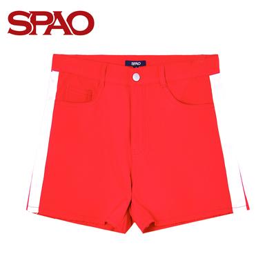 SPAO2017新款女式短裤松紧腰运动风棉质五分裤SPTH737S51