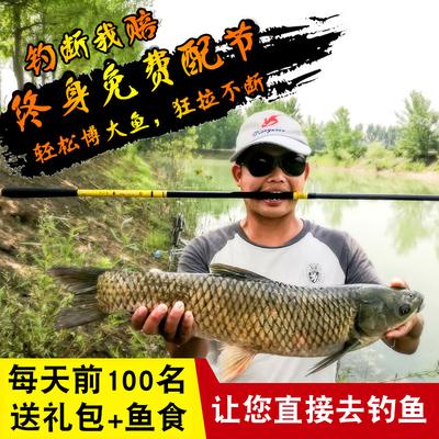 龙纹鲤鱼竿手竿钓鱼竿碳素5.4米短节溪流竿超轻超硬28调钓竿套装评测