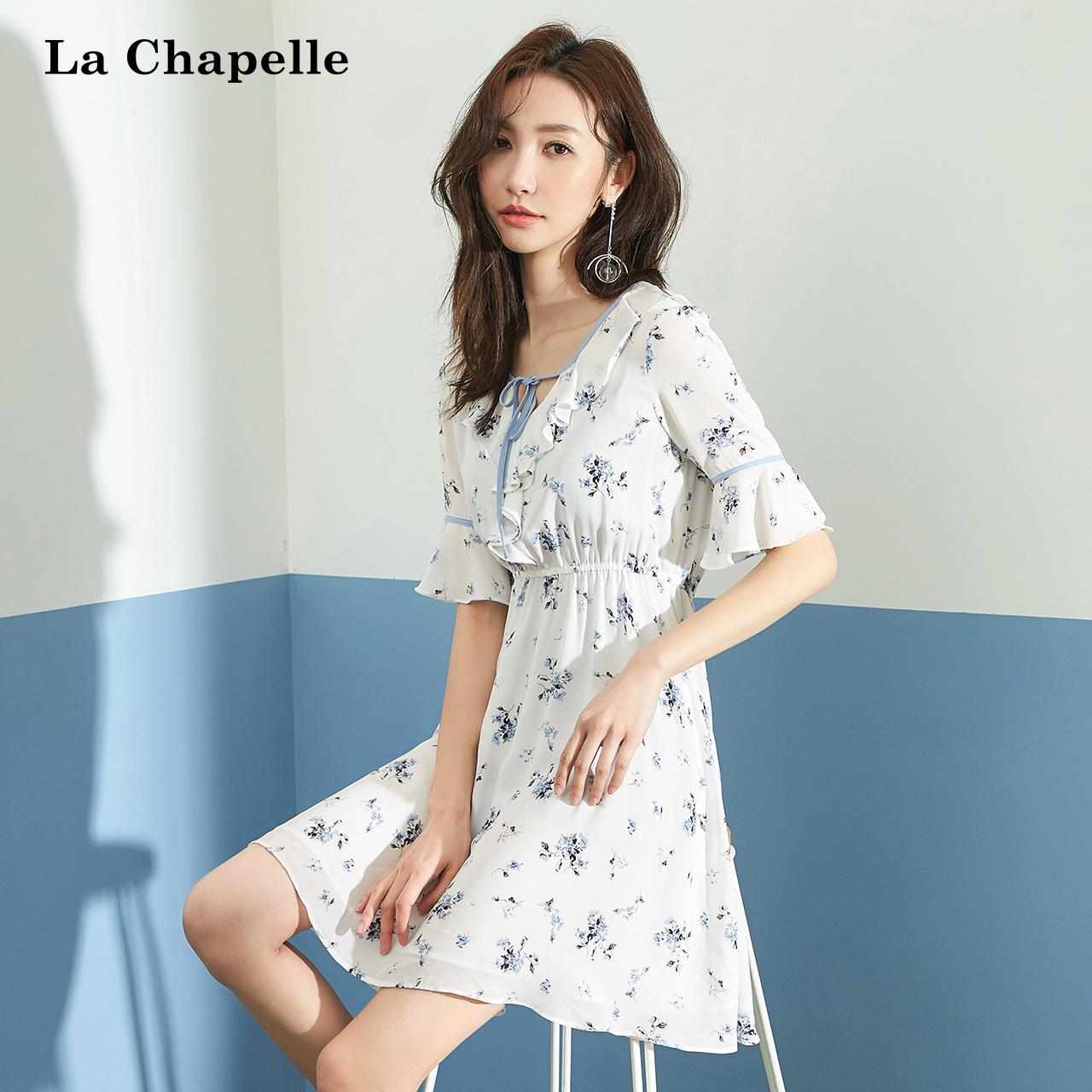 韩版雪纺短袖连衣裙