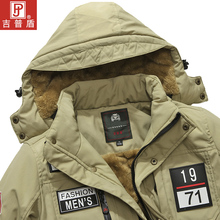 Jeep Shield New Thickened Fleece Jacket in Winter Men's Large-Size Medium-length Cotton Clothing Middle-aged Cotton Jacket Cotton Clothing Cold-proof Clothing