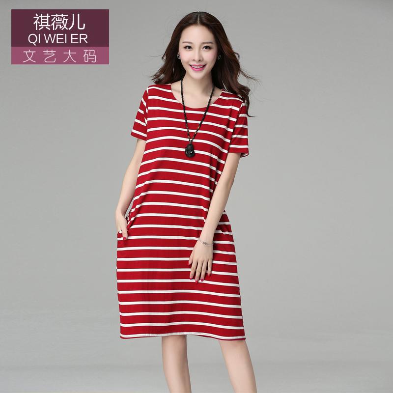 韩版针织大码女装胖mm条纹中长款显瘦棉上衣连衣裙女夏短袖长裙子