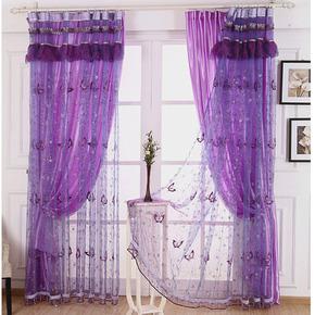 紫色窗帘绣花窗纱隔断帘加厚缎布半遮光定制欧式蕾丝卧室阳台客厅