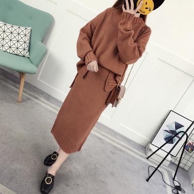 2017秋天女装新款时尚不规则下摆宽松两件套针织裙子韩版百搭套裙