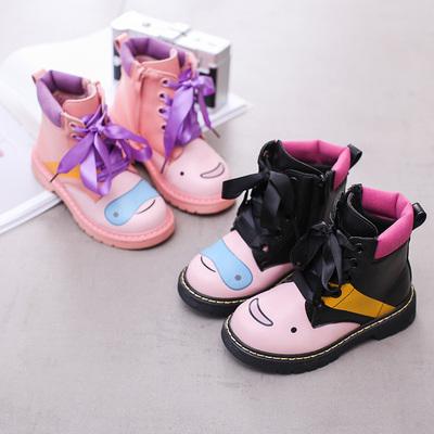 女童靴子儿童短靴卡通可爱粉色小童靴单靴2018新款秋冬女孩公主靴