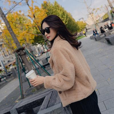 皮毛一体短款女呢子加厚大衣冬季加厚貂毛长袖外套chic小个子毛呢