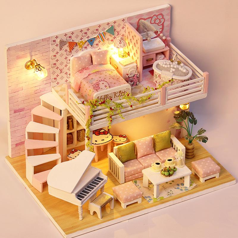 手工创意diy小房子儿童玩具小女孩生日礼物过家家公主房娃娃屋