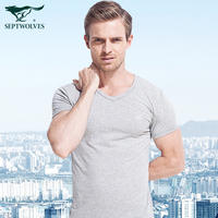 Seven wolves men's t-shirt v-neck tight underwear cotton short-sleeved vest half-sleeved sports chicken heart collar bottoming shirt male