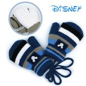 迪士尼男童手套冬季保暖儿童宝宝1-2-3-5岁加绒加厚6-7-8女孩挂绳