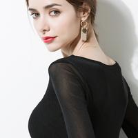 黑色打底衫女长袖2018春装新款低领百搭紧身韩版修身内搭网纱上衣