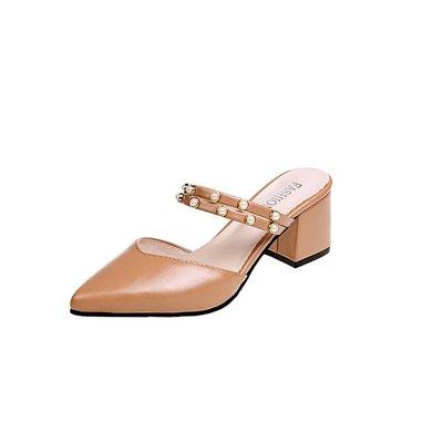 一鞋两穿中跟粗跟包头拖鞋夏女尖头外穿时尚两用韩版百搭高跟凉鞋