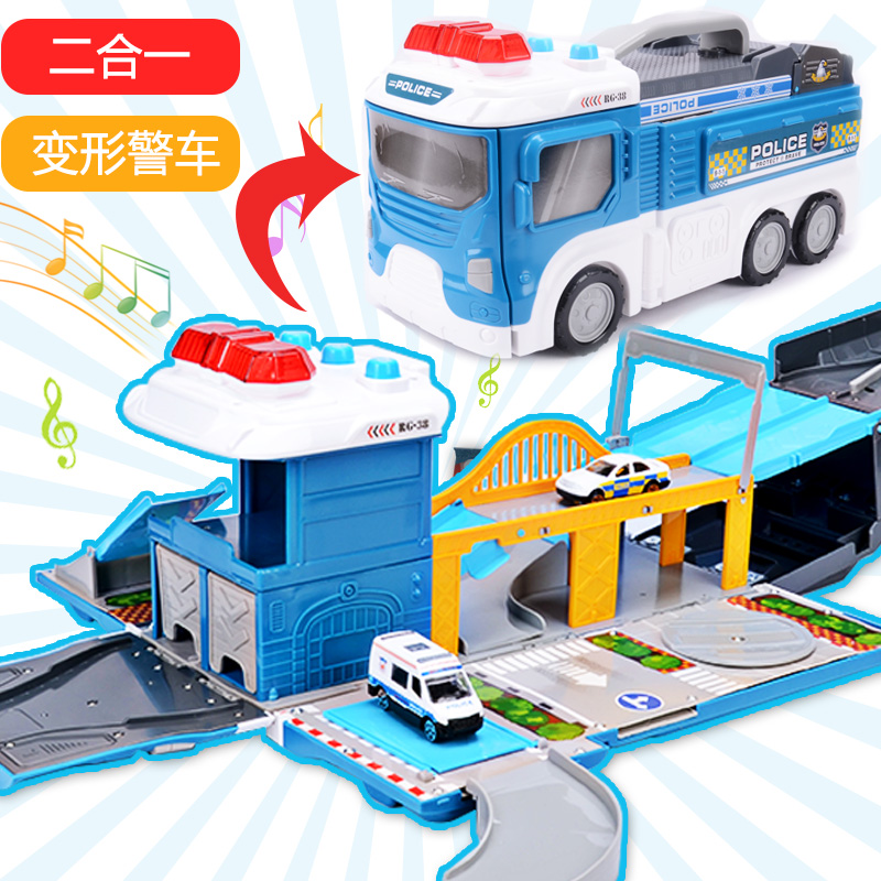 Large deformation police car compatible with alloy hot wheels small sports car storage parking lot aircraft sets