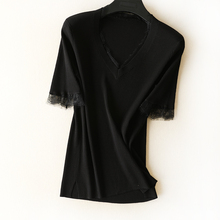 Gentle and affectionate feminine black and white V-neck Lace Trimmed elastic threaded half-sleeve knitted jacket