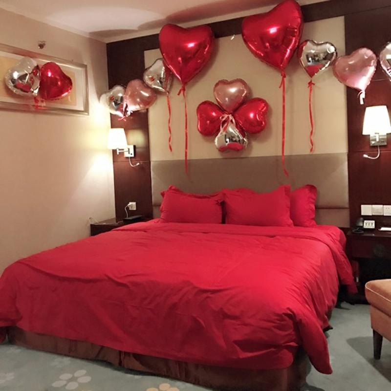 婚房布置结婚用品创意婚庆装饰品铝膜心形气球新房布置卧室浪漫图片
