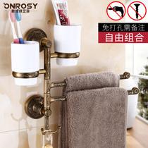 120不锈钢毛巾架双杆高低单双层毛巾挂杆浴室毛巾杆加长cm免钉30