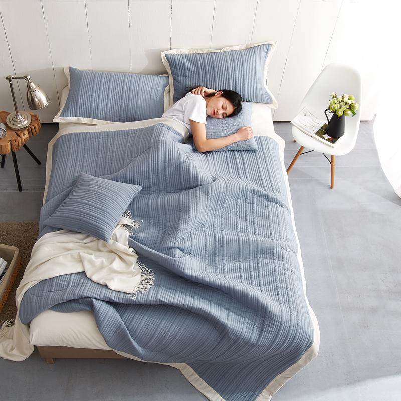 水洗棉纯色床盖