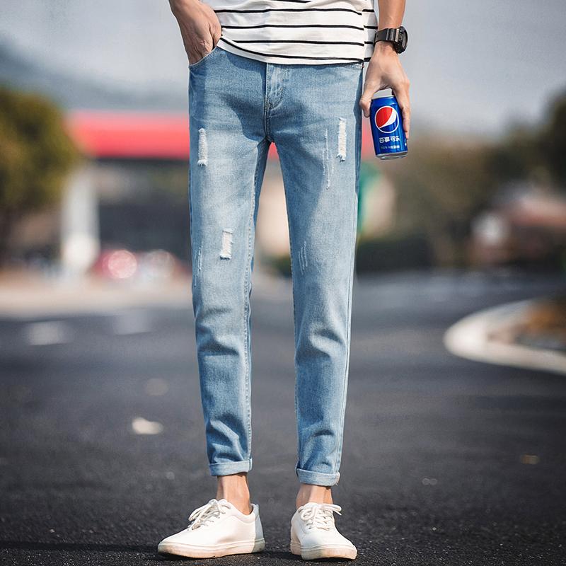 潮流破洞牛仔裤修身男