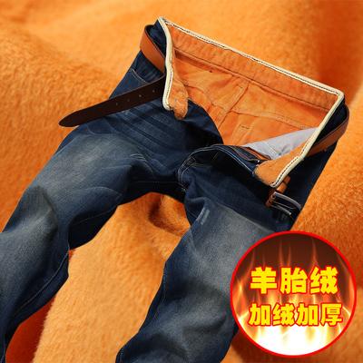 秋冬季加厚加绒牛仔裤男士加绒裤宽松直筒加绒男弹力裤子修身保暖